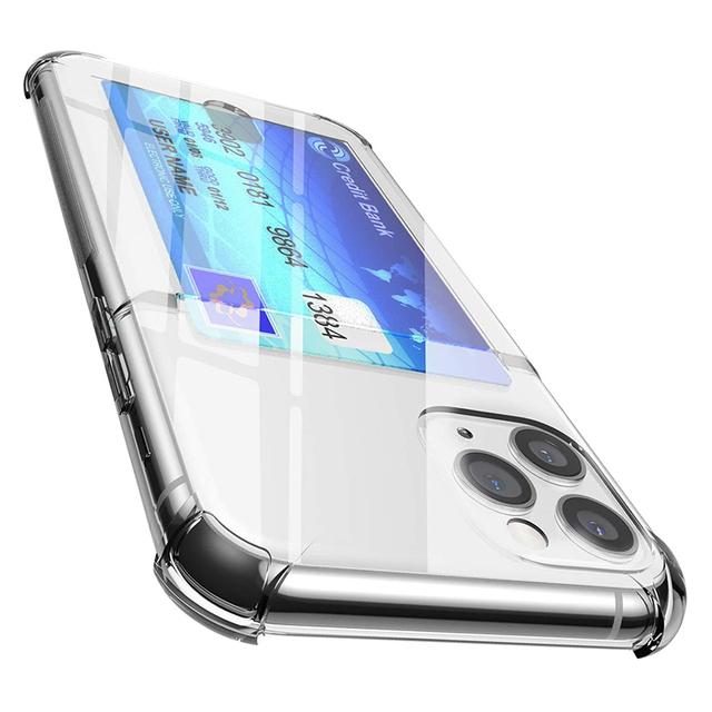 Shockproof Transparent Phone Case For iPhone 12Mini 12 11 Pro Max X XS XR 7 8 Plus SE 2 Soft Silicone Wallet Cover Card Holder 6