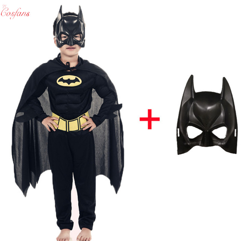 Children Batman Vampire Muscle Costumes & Masks Cape Boy Superhero Cosplay Halloween Masquerade Party Superman Costume Kids Cos