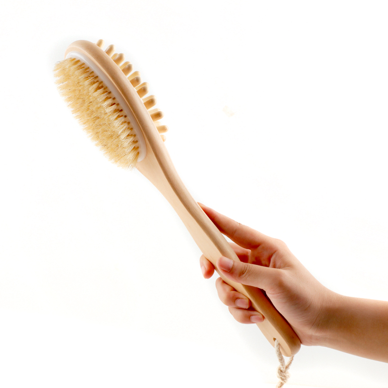 35cm 2-in-1 Sided Natural Bristles Brush Scrubber Long Handle Wooden SPA Shower Brush Bath Body Massage Brushes Back Easy Clean