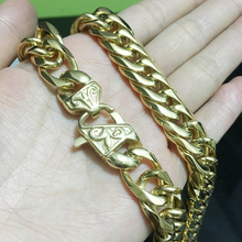 Granny Chic 13mm/16mm Mens Chain Heavy 316L Stainless Steel Gold(Color) Cut Double Curb Link Rombo Necklace Wholesale