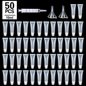 50 Pcs 10/15ml Empty Lip Gloss Tubes with Funnels Clear Soft Lip Gloss Container Refillable Lipgloss Tubes for DIY Makeup Tool