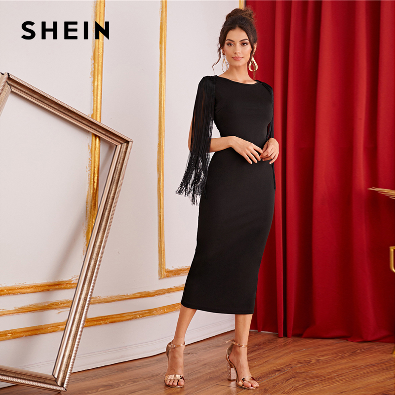 Image 3 - SHEIN Black Solid Fringe Detail Split Back Pencil Party Dress Women 2019 Autumn Sleeveless Elegant Ladies Bodycon Midi Dresses-in Dresses from Women's Clothing