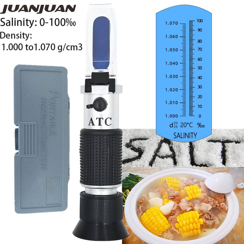 Hand Held Salinity Refractometer Concentration 0-10% For Aquarium Salinity Salt Water Test  With Retail Box Salinometer 37%off