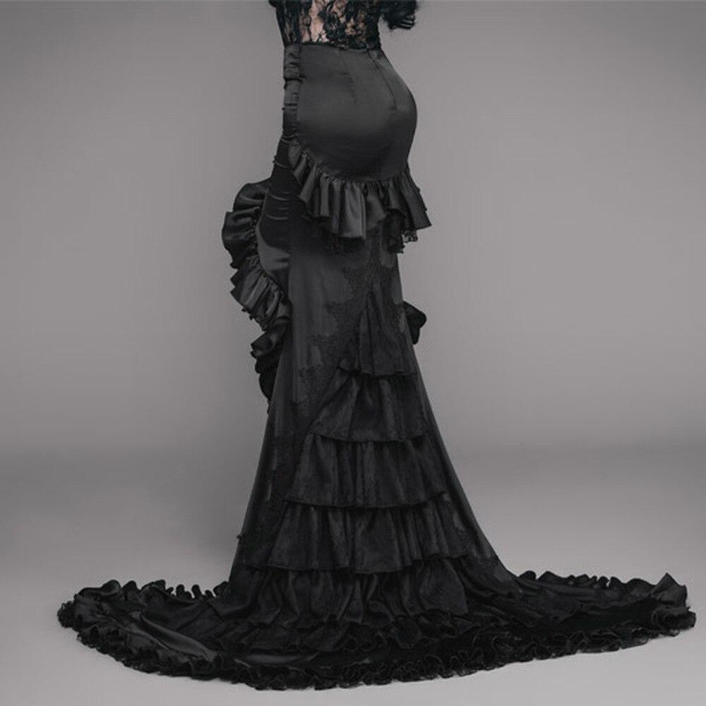 Long-Skirt Frilled Goth Black Asymmetry Women's LADY Tight Gorgeous Floor-Length EVA