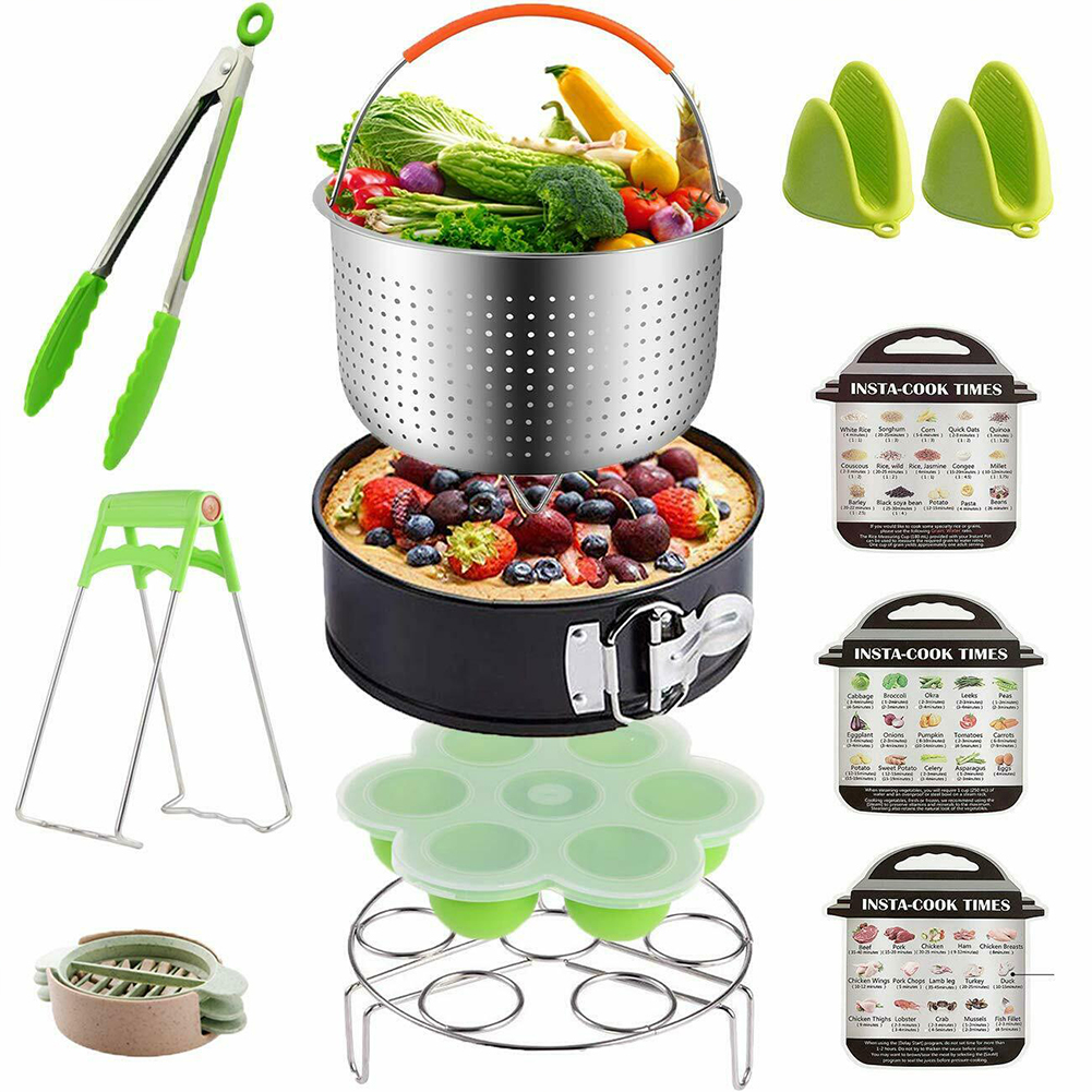 12pcs Easy Clean Cooking Basket Stainless Steel Multifunctional Home Pressure Cooker Kitchen Accessories Steamer Set Oven Mitts