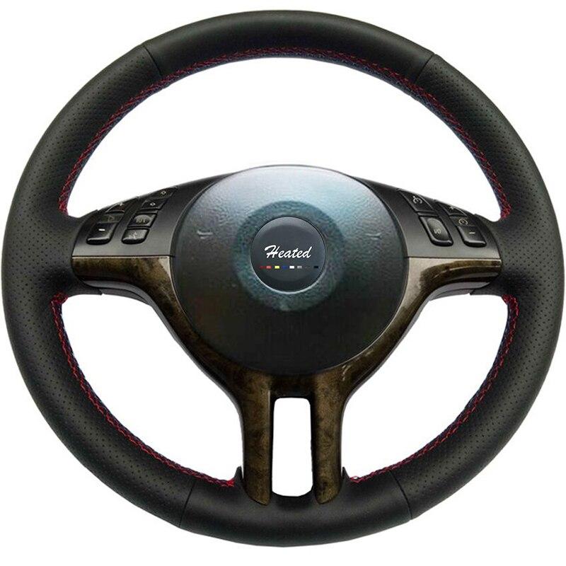 Couvre-volant bricolage pour BMW E39 E46 325i E53 X5 tresse en cuir souple sur le volant Tampa do volante do carro