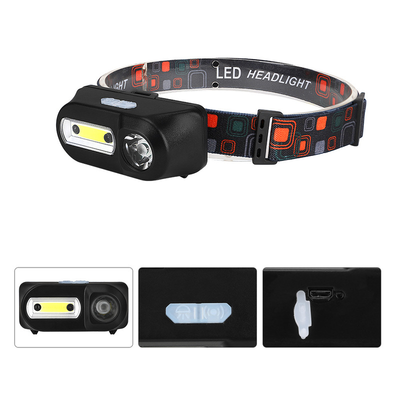 XANES HL8 700LM XPE+COB LED Smart Sensor HeadLamp USB Interface Waterproof Outdoor Camping Hiking Cycling Fishing Light Torch