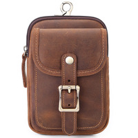Mingshi New Style Men's leather waist bag can wear belt slant across mobile phone bag Retro Leather mountaineering pouch solid