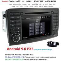 4G RAM 64G ROM 2Din 7''Android 9.0 Octa Core Car DVD Player For Mercedes/Benz/ML/GL CLASS W164 ML350 ML500 GL320 DSP RDS WIFI BT