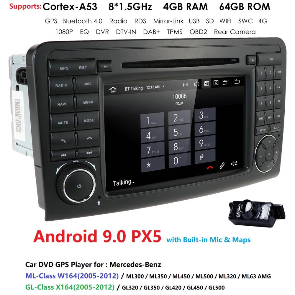 4G RAM 64G ROM 2Din 7''Android 9.0 Octa lecteur DVD de voiture de base pour Mercedes/Benz/ML/GL classe W164 ML350 ML500 GL320 DSP RDS WIFI BT