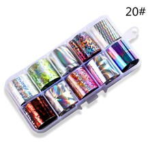 10Pcs Nail Star Sticker Set Holographic Foil Starry Adhesive Glitters DIY Transfer Paper Colorful Laser P1
