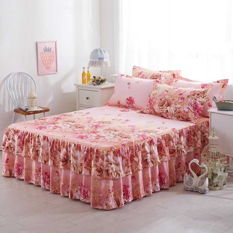 Hearty 3pcs Printed Bedding Set Soft Bed Skirt With Pillowcases Bedspread Full Twin Queen King Size Bed Sheet Mattress Cover Bedsheets Refreshment