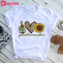 Vrouwen Vrede Liefde Zon Print Zonnebloem Tshirt Meisje Harajuku Casual Witte Top T-shirt 2020 Zomer Vrouwelijke T-shirt, drop Shipping