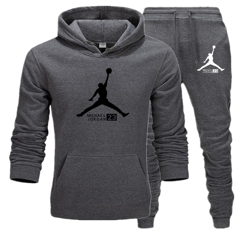 Brand New Men Sets Fashion Autumn Winter JORDAN 23 Jacket Sporting Suit Hoodies+Sweatpants 2 Pieces Sets Slim Tracksuit Clothing