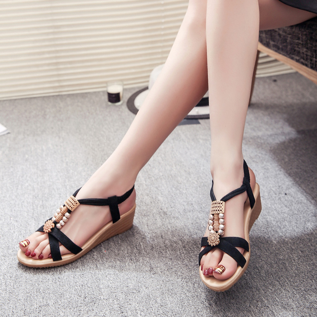 JAYCOSIN Summer Women Sandals Fashioh Elastic Strap Casual Beach Shoes Wedge Heels Shoes Woman Sandals Comfor Platform Sandals 1 2