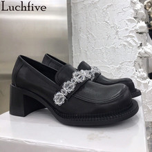 Ladies Shoes Mule White Outwear Crystal-Chains Square Round-Toe Black Women Hoof-Heels