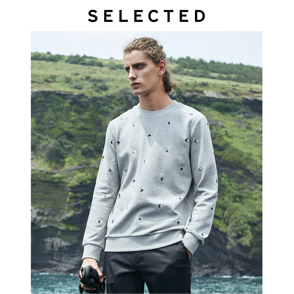 SELECTED Men's Colored Embroidery Pullover Hoodies New Autumn Sweatshirt Clothes S | 41934D503