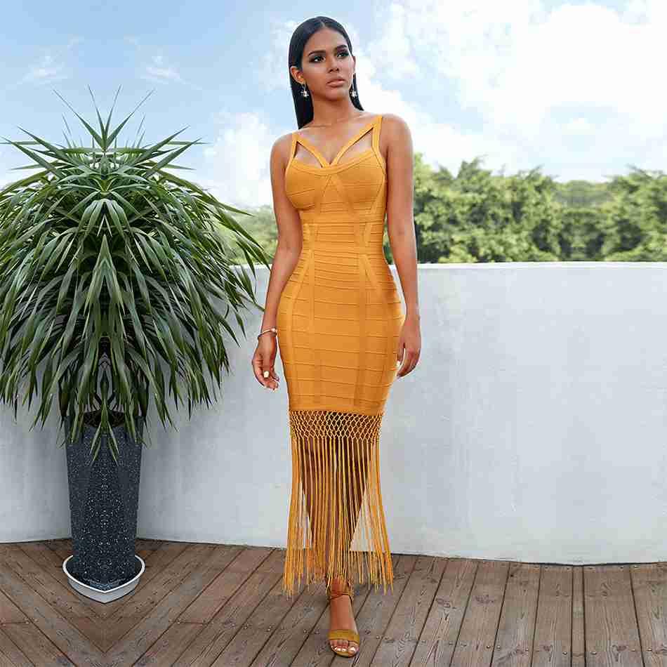 Seamyla 2019 New Women Bobycon Bandage Dress Tassel Sexy Summer Yellow Dress Night Out Club Celebrity Party Dresses Vestidos