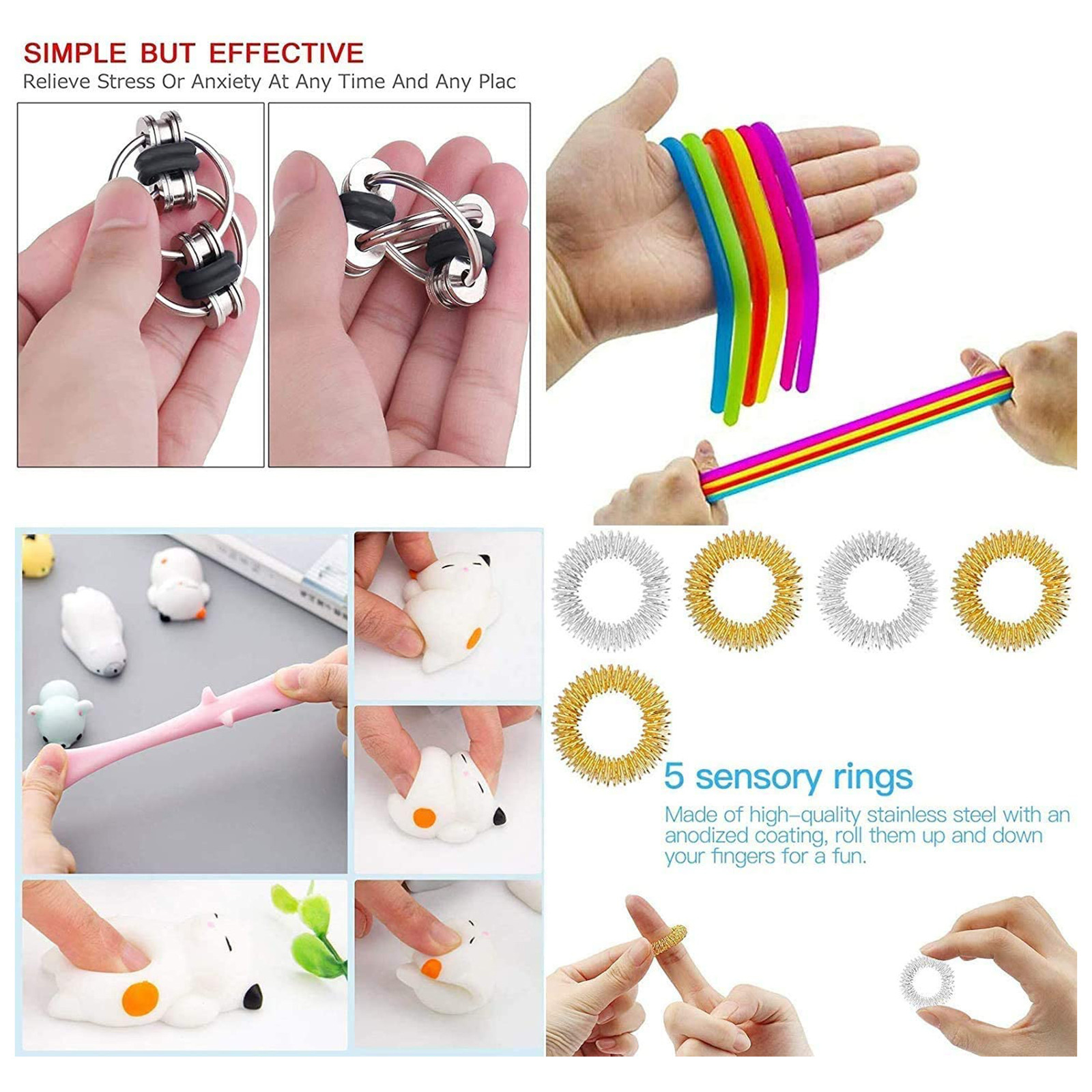 Fidget-Toys Gift-Pack Anti-Stress-Set Relief Pop-It Stretchy-Strings Sensory Squishy img5