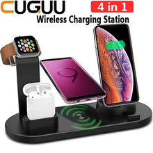 CUGUU 10W Qi Wireless Fast Charger Dock Station 4 in 1 For Iphone Airpods Android USB Type C Stand 3.0 For Apple Watch Charger