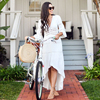 2020 Crochet White Knitted Beach Cover up dress Tunic Long Pareos Bikinis Cover ups Swim Cover up Robe Plage Beachwear 4
