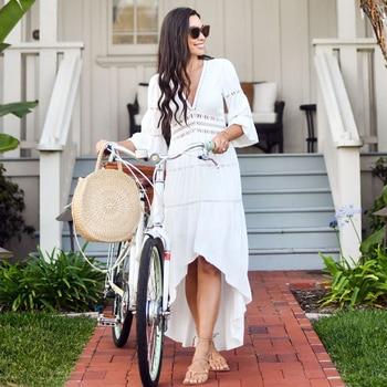 2021 Crochet White Knitted Beach Cover up dress Tunic Long Pareos Bikinis Cover ups Swim Cover up Robe Plage Beachwear 4