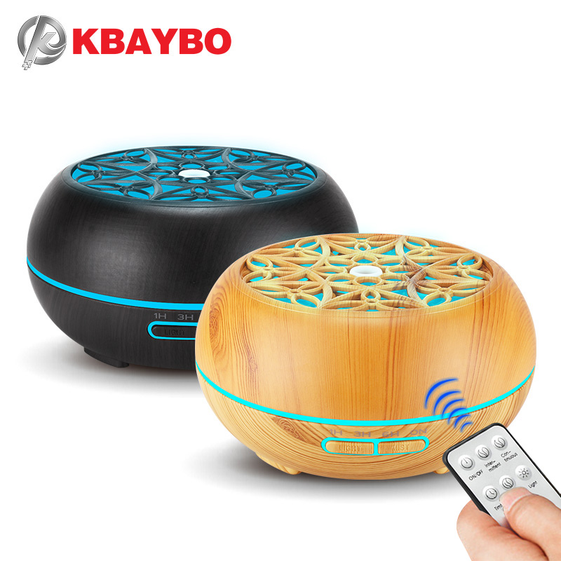 KBAYBO 300ml Wood Grain Air Humidifier With Remote Control Purifier Household Night Light Aromatherapy Essential Oil Diffuser