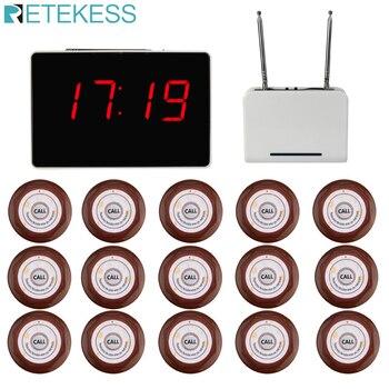 Беспроводной пейджер для вызова официанта Retekess, система вызова для ресторана, приемник хоста, Репитер сигнала, 15 шт., кнопка вызова F3302B