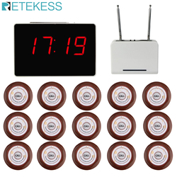 Retekess Wireless Waiter Pager Calling System for Restaurant 1pcs Receiver Host +1pcs Signal Repeater +15pcs Call Button F3302B