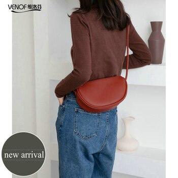 VENOF Half-round Saddle Bags Fashion Split Leather Crossboday Bags For Women Rope Straps Shoulder Messenger Bag Female Hand Bag