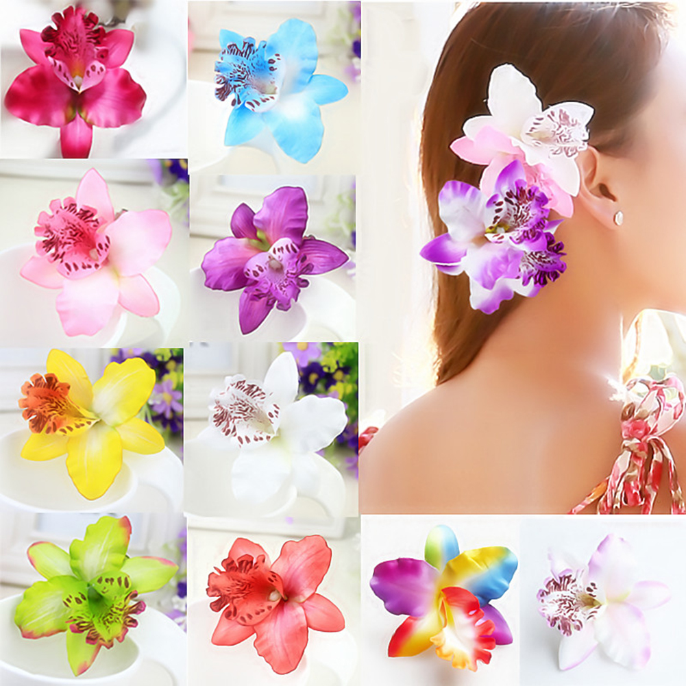 1PC Fashion Women Chic Flowers Hair Clips Hot Sale Handmade Butterfly Orchid Fake Ladies Beach Holiday Colorful Hair Accessories