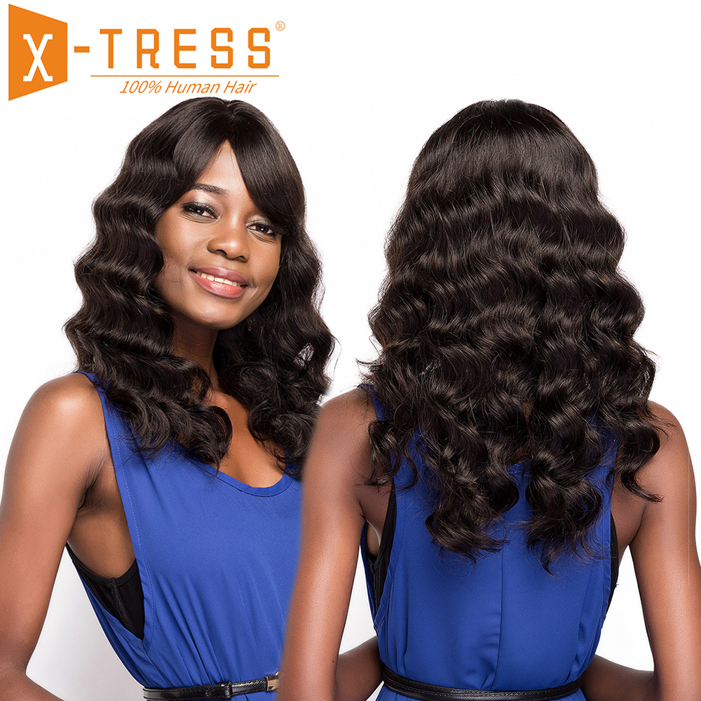 Brazilian Human Hair Wigs With Bang Side Part X-TRESS 20inch Long Loose Wave Non-remy Hair Wig For Women Natural Color Hairpiece