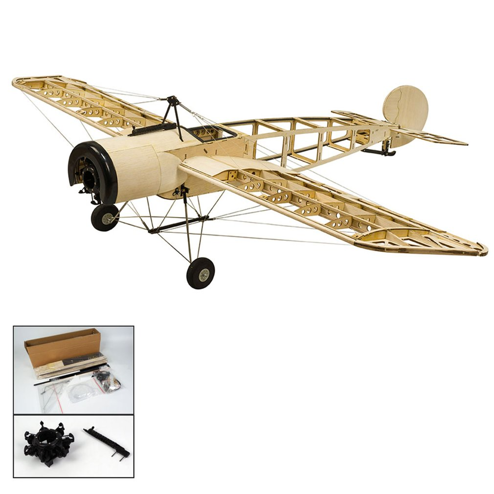EP Fokker-E Balsa Wood Training Plane 1.2M Wingspan Biplane RC Airplane Aircraft Model Toys DIY KIT/PNP for Kid image
