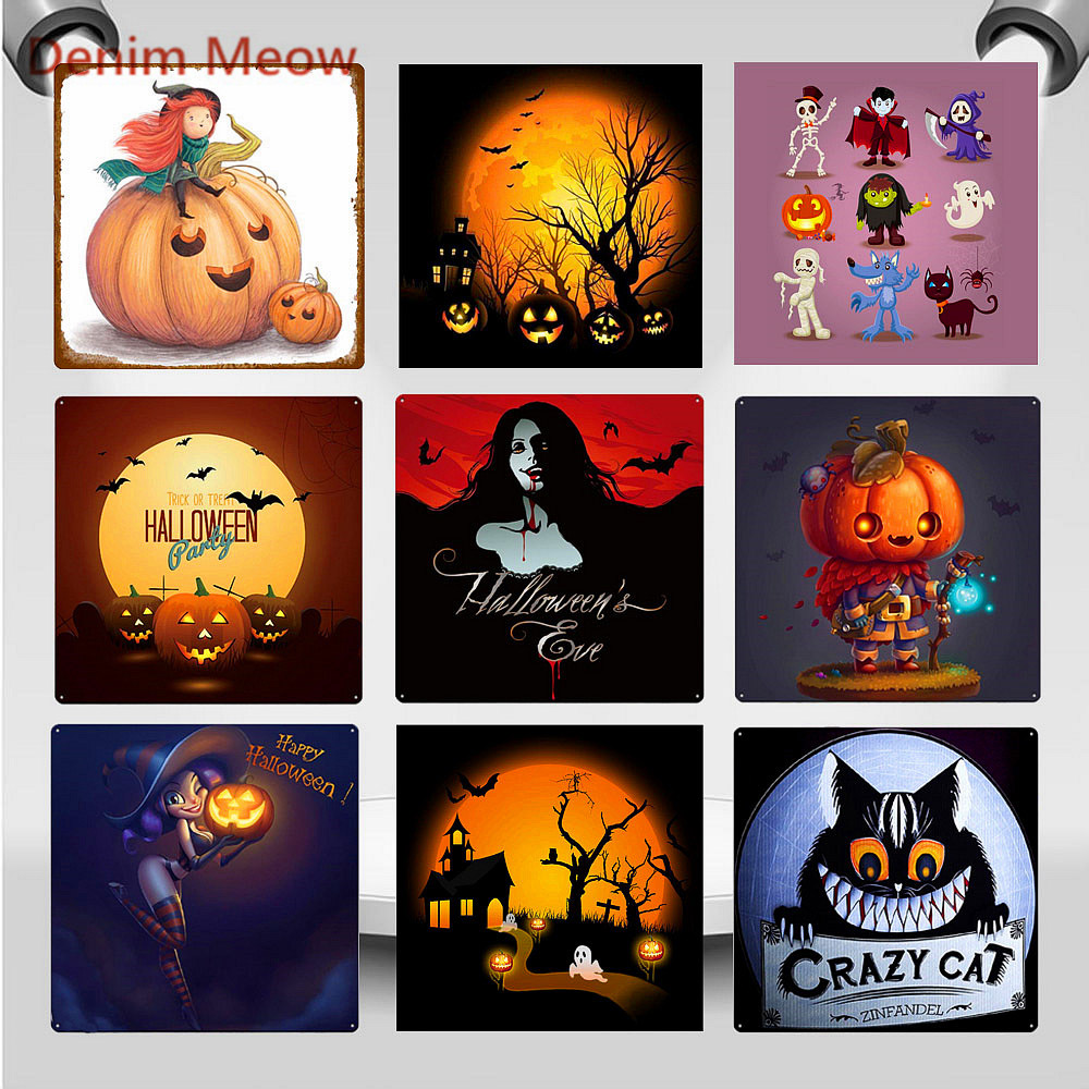 30 30cm Vintage Happy Halloween Party Metal Tin Signs Horror Pumpkin Crazy Cat Wall Art Poster Shabby Chic Pub Home Decor WY91 in Plaques Signs from Home Garden