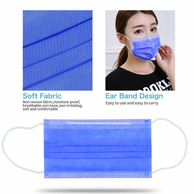 Image 2 - Masks 50pcs  3 Layer Disposable Medical Protective Face Mouth  Masks Anti PM2.5 Influenza Bacterial Facial Dust Proof Safety Mask  -