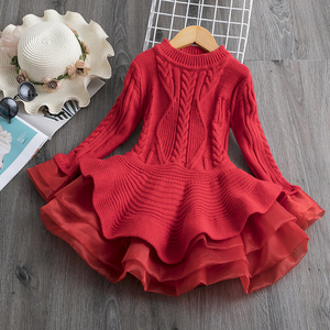 Long Sleeve Dress for Girls 3-8 Years Princess Costume Winter Knitted Kids Red Christmas Dress New Year Autumn Children Clothing
