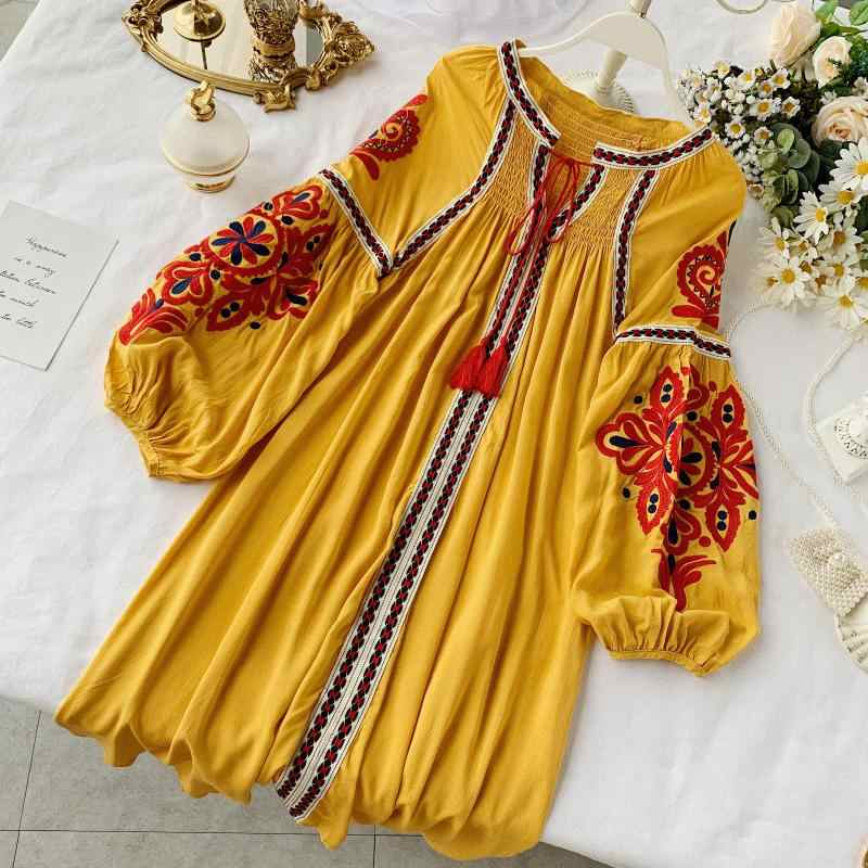 New Autumn Ladies Leisure A-line Lace-up Neck Embroidery Flowers Short Dress Women Swing Cotton Linen Bohemia Dress