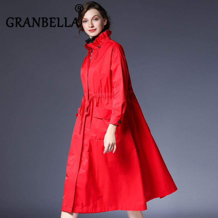 Plus Size Over-Knee Long Windbreaker Coat OL Stylish Loose All-match   Trench   Coat Oversize Comfortable Autumn Clothing For Ladies