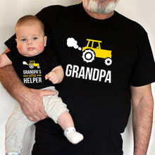 1pc Grandpa and Grandpa's Little Helper Matching Grandpa and Grandson T-shirts Summer Short Sleeve Matching Family Look Outfits
