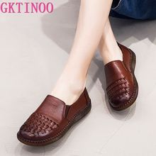 Comfortable Shoes Loafers Women Soft Genuine-Leather Casual GKTINOO Handmade Retro Fashion