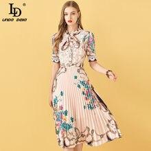 LD LINDA DELLA Summer Fashion Designer abito a pieghe donna manica corta pizzo Patchwork stampa floreale abito longuette femminile Vintage