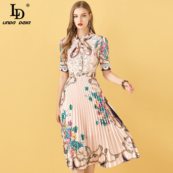 LD LINDA DELLA Summer Fashion Designer Pleated Dress Women Short sleeve Lace Patchwork Floral Print Vintage Female Midi