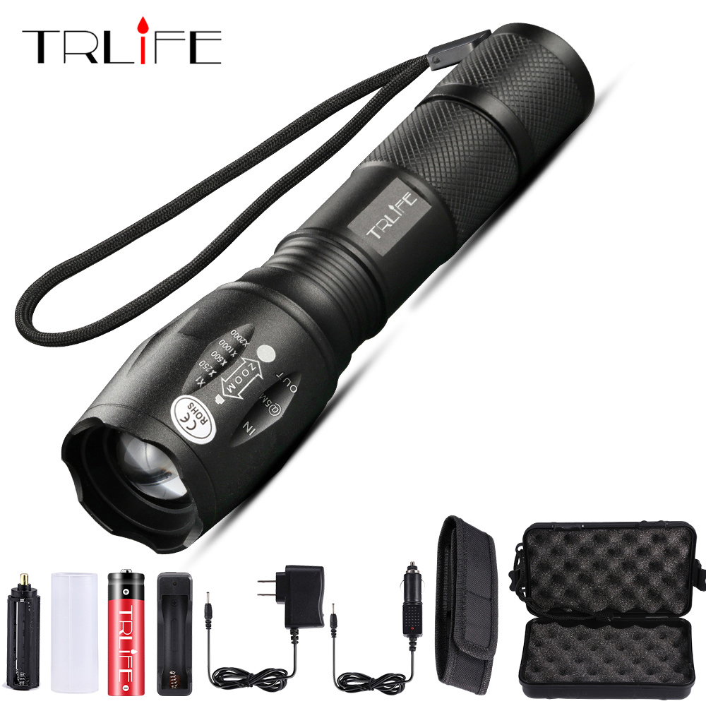Trlife Led Flashlight Ultra Bright Torch T6/L2/V6 Camping Light 5 Switch Modes 10000 LM Zoomable Tactica Light Use 18650 Battery