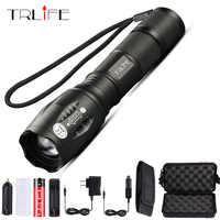 Trlife Led Flashlight Ultra Bright torch T6/L2/V6 Camping light 5 switch Modes Zoomable Tactica Light use 18650 battery