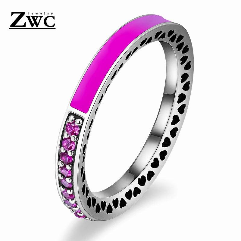 ZWC модный Сияющий светильник в виде сердец с розовой эмалью и прозрачным CZ кольцом на палец для женщин, кольца с кристаллами из медного сплава, ювелирные изделия в подарок - Цвет основного камня: DarkPink