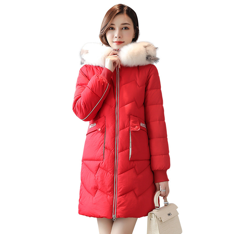 Hot sale Down   parka   Winter of 2019 Long-style Bread Garments Korean Edition Big Hair-collar Cotton-padded Coat Wholesale 818