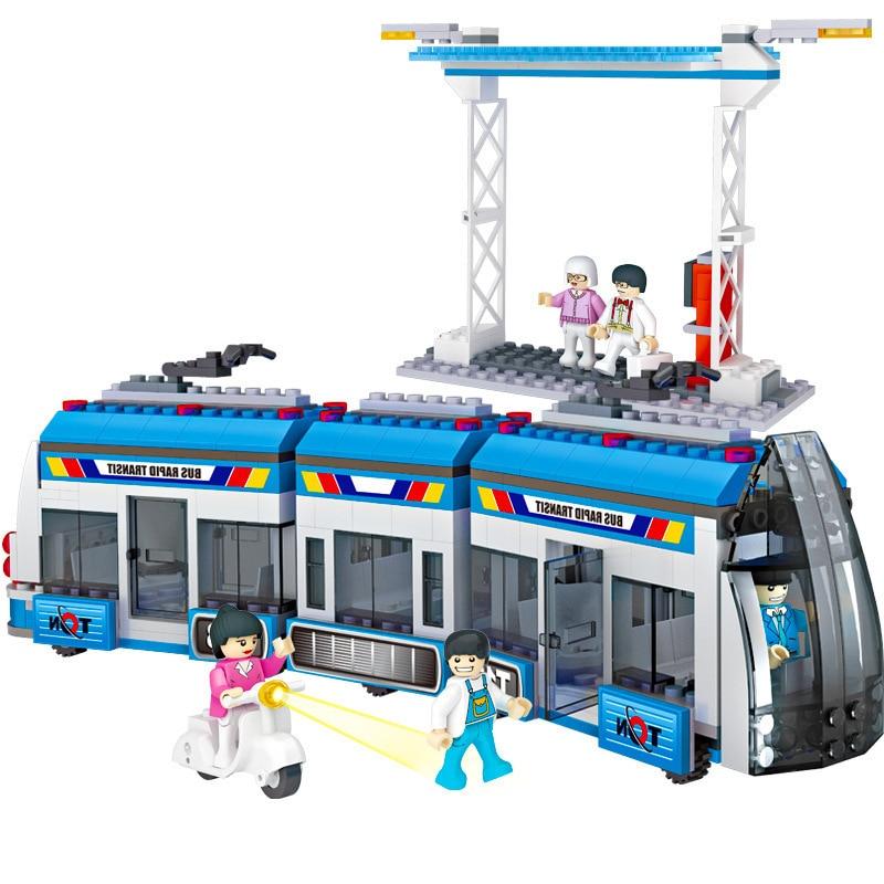 COGO City Series BRT Fast Bus Car Passenger Train Station Building Blocks Sets Bricks Kids Kits Toys Compatible