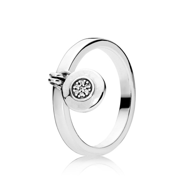 6 Style Women Silver Color Rings Jewelry Logo Signature With Crystal Pan Heart Pendant Ring For Women Jewelry 4
