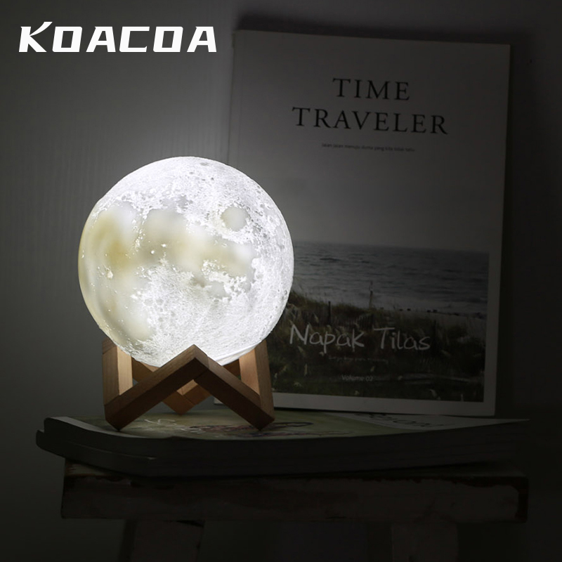20cm 3D Print Moon//Jupiter//Earth Lamp LED Night Lunar Light Touch Color Changing