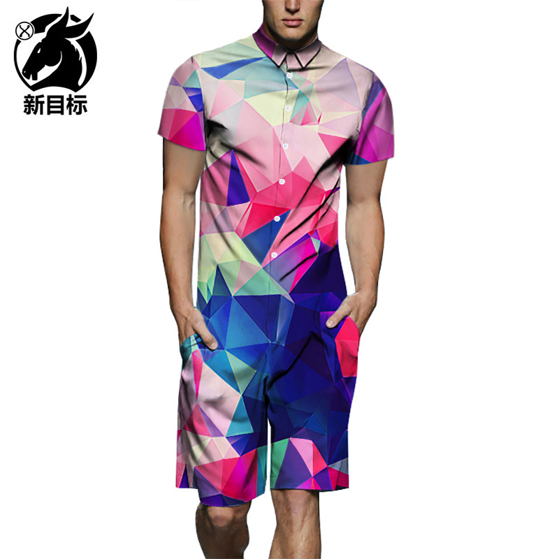 Colorful Gradient Pattern 3D Print Shirt Onesie Short Sleeve Amazon Hot Selling 2019 Summer Onesie Men